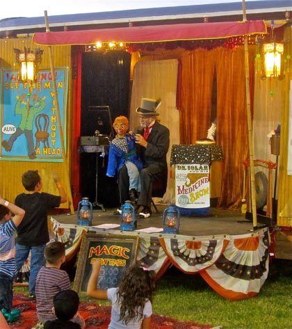 Good ol' fashioned carnival magic and ventriloquism...