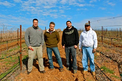 Turley's Tegan Passalacqua (left) with the Bokisch crew in Liberty Oaks Vineyard