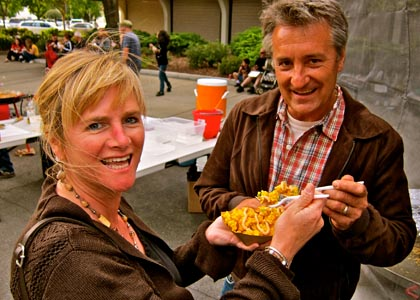 Liz & Markus Bokisch enjoying Addy's Paella in Downtown Lodi