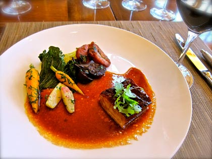 Red-cooked pork belly with winter vegetables