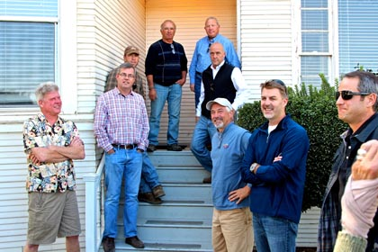 Recent gathering of top Lodi Zinfandel specialists at Mohr-Fry Ranch: (from left) Layne Montgomery (m2); Stuart Spencer (St. Amant); Bruce Fry (Mohr-Fry); Joe Maley (Maley Brothers); Jerry Fry (Mohr-Fry); Mike McCay (McCay Cellars); Tim Holdener (Macchia); Ryan Sherman (Fields Family); Chad Joseph (Harney Lane, Maley Brothers, and other wineries)