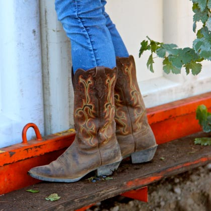"The dimunitive Jillian Johnson's ""harvest boots"""