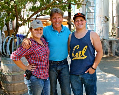 Mid-September: Jessie's Grove owner/grower/winemaker Greg Burns with two of the new-generation winemakers on his winemaking team