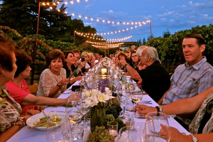 End-of-August early harvest dinner at Harney Lane estate