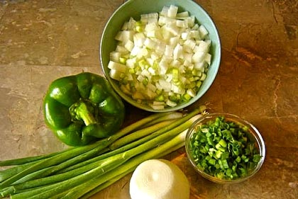 """Holy Trinity"" of onions, bell peppers and celery"
