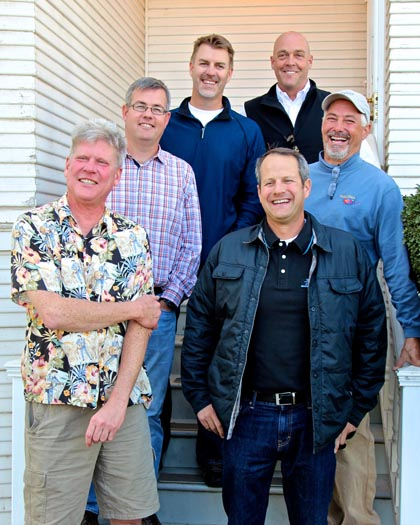 Lodi Native Winemakers (clockwise from left): Layne Montgomery (m2Wines), Stuart Spencer (St. Amant Winery), Ryan Sherman (Fields Family Wines), Michael McCay (McCay Cellars), Tim Holdener (Macchia Wines), and Chad Joseph (Maley Brothers)