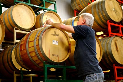 Layne Montgomery drawing from Zinfandel barrels