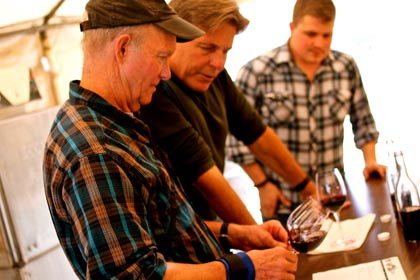 Patrick Campbell compares color of ancient vine Carignan and Petite Sirah grown by Jessie's Grove's Greg Burns (center)