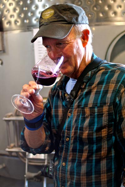Late February:  Terra Divina's Patrick Campbell tastes Lodi Zinfandel that will be blended in his classic REDS bottling