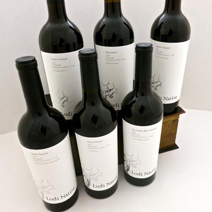 The six Lodi Native Zinfandels, available in a wood case package at Lodi Wine & Visitor Center