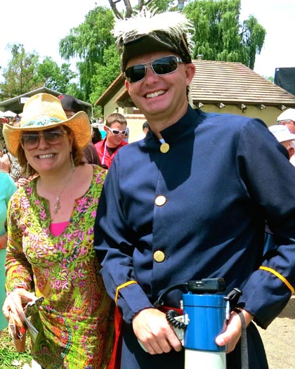Vintner's Regatta Master of Ceremonies (and bullhorn) Camron King (also Executive Director of Lodi Winegrape Commission); with Kimberly Charles of San Francisco's Charles Communications Associates…