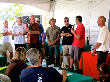 Lodi Native winemakers presenting their single-vineyard Zinfandels at ZinFest Wine School:  (from left) McCay's Mike McCay, Fields Family's Ryan Sherman, m2′s Layne Montgomery, Macchia's Tim Holdener, St.Amant's Stuart Spencer, and Chad Joseph (speaking) and Todd Maley of Maley Brothers…