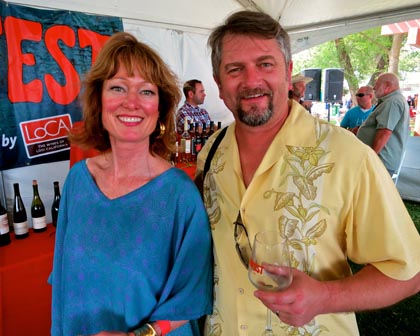 "Master Sommelier Catherine Fallis (the ""Grape Goddess"") and summertimeinaglass.org's Bryan Dias, following her ZinFest Cooking School gig…"