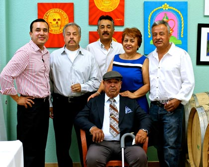 The Anaya family today: Don Victor (sitting); and from left, Gerardo Espinosa, Armando Anaya, Gerardo Anaya, Leticia Anaya, and Ramon Anaya (missing is the oldest son, Victor Anaya Jr.)