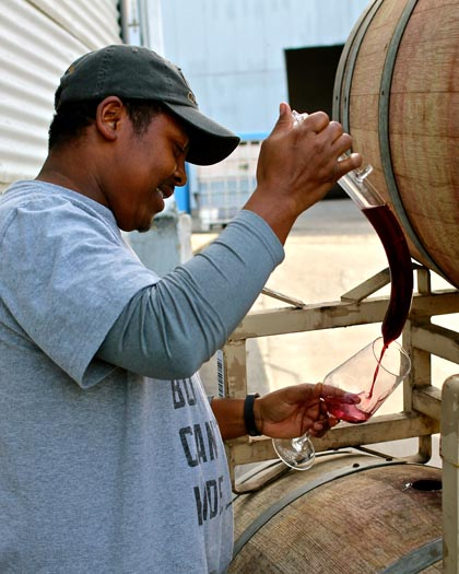 Klinker Brick's Joseph Smith, thiefing Dolcetto barrels this past February