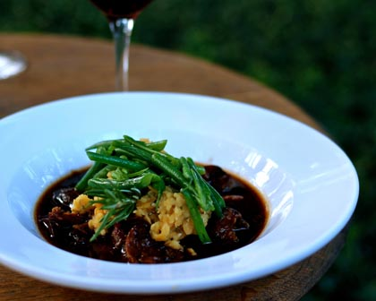 Braised lamb shanks and Zinfandel at Harney Lane Winery