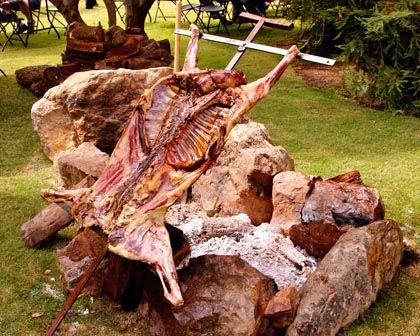 Wood fired goat (served with Spanish varietals) at Bokisch Vineyards