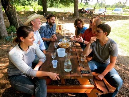 Forlorn Hope crew (left side of table) in Mokelumne Glen