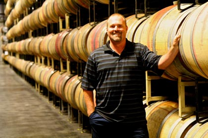 Michael David GM/head winemaker Adam Mettler in his Clements barrel facility
