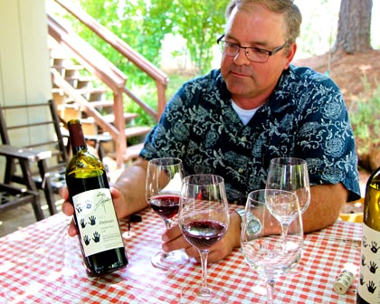 Peter Marks with his Six Hands Zinfandel