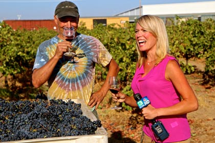 "September 5: Macchia's Tim Holdener being interviewed by KCRA-TV's Tamara Berg in his ""Oblivious"" Zinfandel vineyard (nearly ""forgotten"" ancient vines on Lodi's east side)"