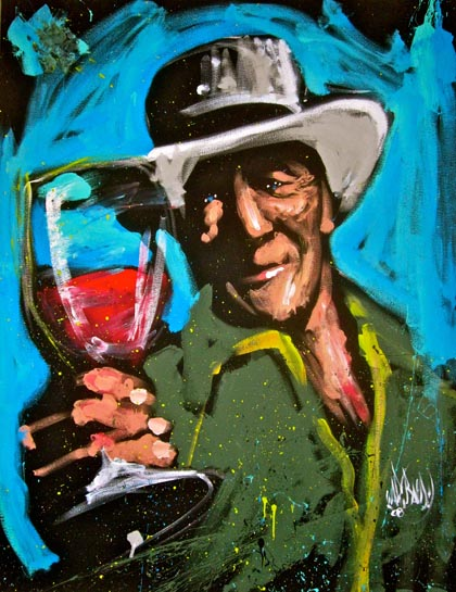 Painting of Robert Mondavi at Woodbridge Winery