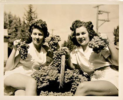 1941 Lodi Grape Festival beauty queens proudly displaying Tokay grapes