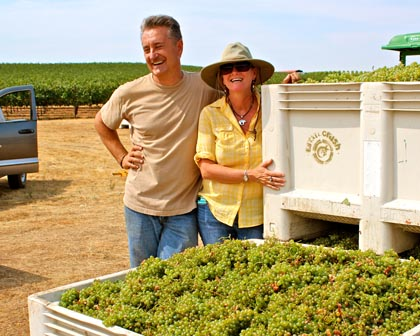 Markus and Liz Bokisch with Verdelho harvest in Lodi's Borden Ranch AVA