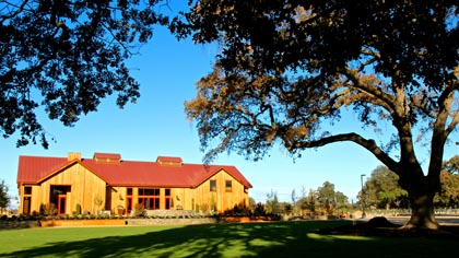 Oak Farm Vineyards' new winery/tasting room among magnificent ancient oaks