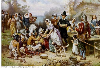 Romantic depiction of first Thanksgiving