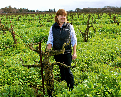 Onesta winemaker/owner Jillian Johnson in 128-year old Bechthold Vineyard