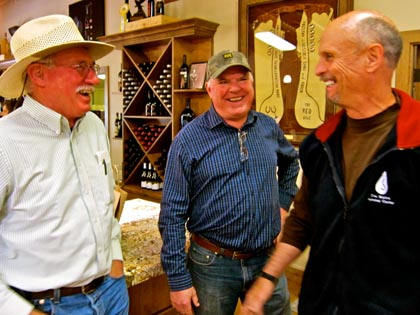 Three of Lodi's modern-day winegrowing pioneers: Borra Vineyards' Steve Borra, Michael David's Mike Phillips, and The Lucas Winery's Dave Lucas