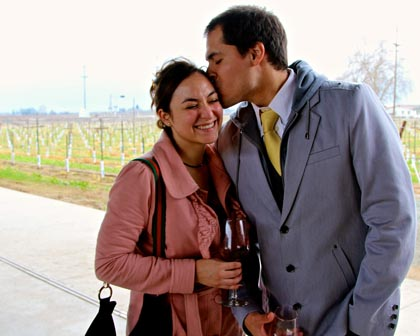 Zinfandel and kisses in the rain at Lodi's m2 winery…