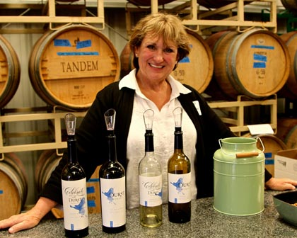 Flooded parking lot, wet hair, no problem for Durst Winery owner Cassandra Durst!