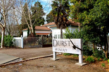 Entrance to Durst Winery in Acampo (east side of Lodi)…