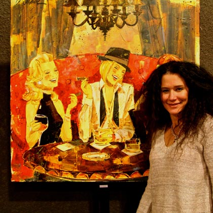 LangeTwins' guest artist Kathy Womack with her Texas and wine inspired work…