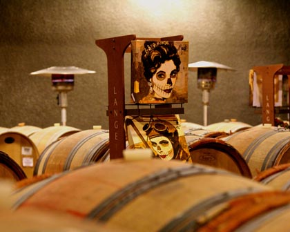 Kathy Womack's Dia de Los Muertos inspired paintings among LangeTwins barrels…