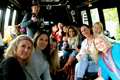 "Inside the ""party"" limo with serious Lodi Wine & Chocolate lovers…"