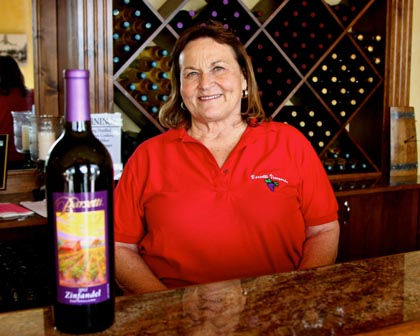 Barsetti Vineyards' Janice Barsetti with her west side grown Zinfandel – one of the finest, silkiest, most fragrant in Lodi…