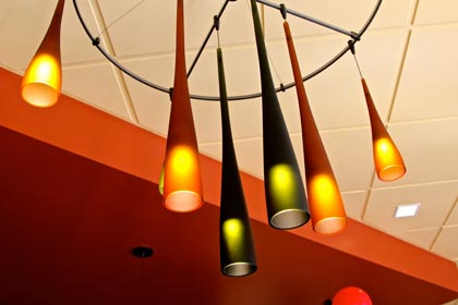 Beautifully fluted lights in Barsetti tasting room…