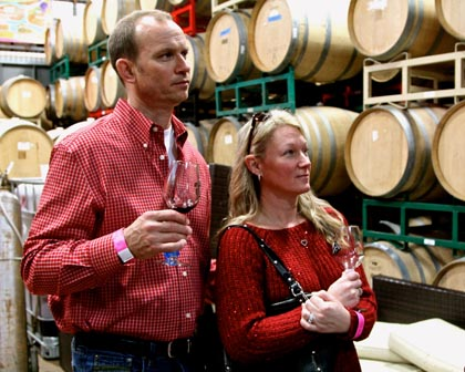 Barrel tasting with the winemaker at m2 winery…