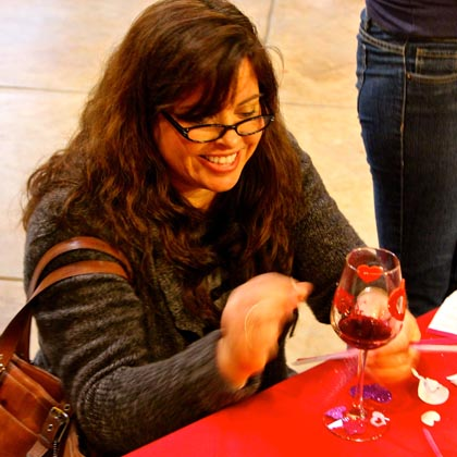 Lovin' those heart stenciled wine glasses…