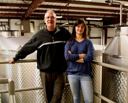 Celebrated winemaker David Ramey; with daughter Claire Ramey, who assists in winery