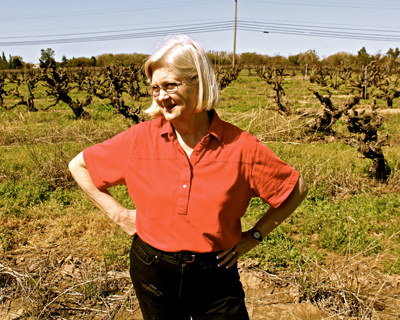 Lodi grower Jean Rauser among her 106-year old Carignan plants