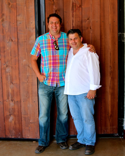Stama Winery's Frank Kapiniaris (right) with his winemaker, Franck Lamber