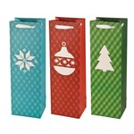 Wine Bags Assorted Plaid Holiday